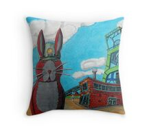 349 - COAL MINER BUNNY - DAVE EDWARDS - COLOURED PENCILS & INK - 2012 Throw Pillow