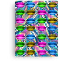 Holographic Pink Blue Lips Rainbow Print Canvas Print