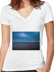 Hint of Colour on a blue moring Women's Fitted V-Neck T-Shirt