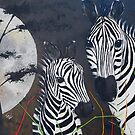 Zebras and a Really Big Moon by Tom Norton