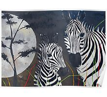 Zebras and a Really Big Moon Poster
