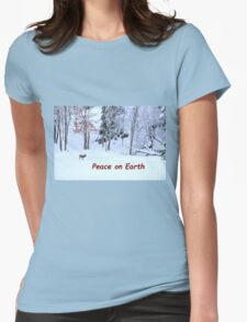 Winter Scene - Red Deer  Womens Fitted T-Shirt