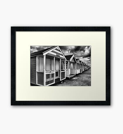 Beach Huts in Black And White Framed Print