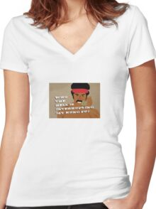 Black Dynamite's Kung-Fu Women's Fitted V-Neck T-Shirt
