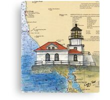 Pt Bonita Lighthouse CA Nautical Map Cathy Peek Canvas Print
