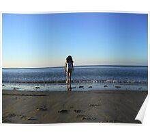 Girl Paddling in Sea Poster