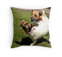 My crazy dogs  Throw Pillow