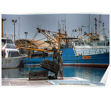 fisherman in the harbour Poster