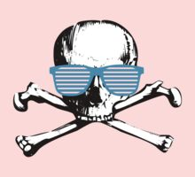 Cool white skull with cyan sunglasses - funny graphic by moonshine and lollipops