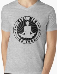 Real Men Do Yoga T-Shirt Design. Mens V-Neck T-Shirt