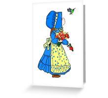 Beautiful Sunbonnet Girl and Hummingbird Greeting Card Greeting Card