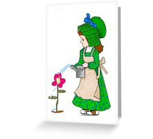 Green Sunbonnet Girl Greeting Card Greeting Card