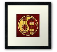 Vintage Red and Yellow Acoustic Electric Guitars Yin Yang Framed Print