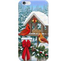 Cardinal Birds and Christmas Bird Feeder iPhone Case/Skin