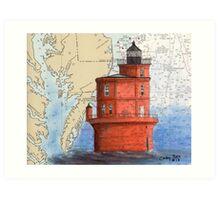 Wolf Trap Lighthouse VA Nautical Map Cathy Peek Art Print