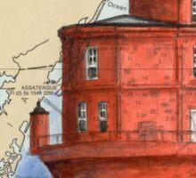 Wolf Trap Lighthouse VA Nautical Map Cathy Peek Sticker