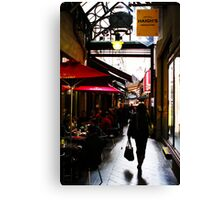 cafes in the arcade Canvas Print