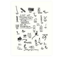 'List of Things that hold things Up or Together' Art Print