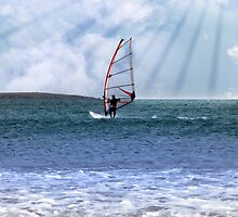 windsurfer in a storm with rays of sunshine by morrbyte