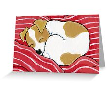 Tired Little Pup - Card Version Greeting Card