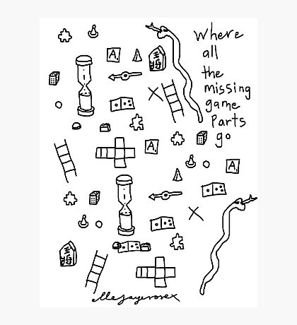 'Where all the Missing Game Parts go...' Photographic Print