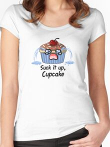 Suck it up Cupcake, the saddest crying baked good you'll ever see Women's Fitted Scoop T-Shirt