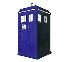 Tardis - Hand Drawn and Colored Photographic Print