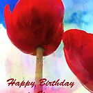 Red Tulip Birthday Card by Forfarlass