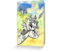 Wolf's Lesson - Lamb takes off Greeting Card