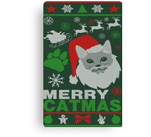 Merry Catmas Ugly Christmas Canvas Print