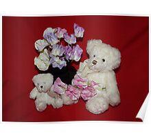 Teddies in the Flowers Poster