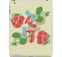 Geraniums and Blue Jays iPad Case/Skin