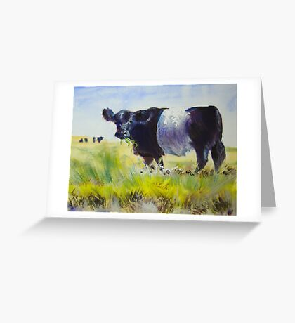 Belted Galloway Cow Painting Greeting Card