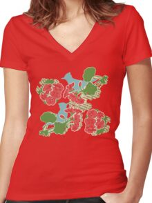 Geraniums and Blue Jays Women's Fitted V-Neck T-Shirt