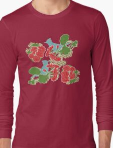 Geraniums and Blue Jays Long Sleeve T-Shirt
