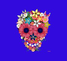 Skull flowers - blue by WAMTEES