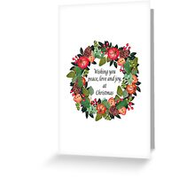 Traditional Christmas Wreath and Greeting Greeting Card