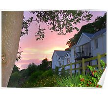 White House with Sunset Poster