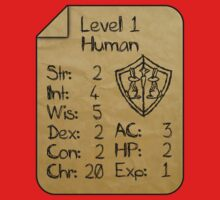 Level 1 - Human [only for Nerd Babies] One Piece - Short Sleeve