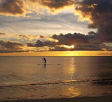Paddle Surfing at Sunset by Carla Barone