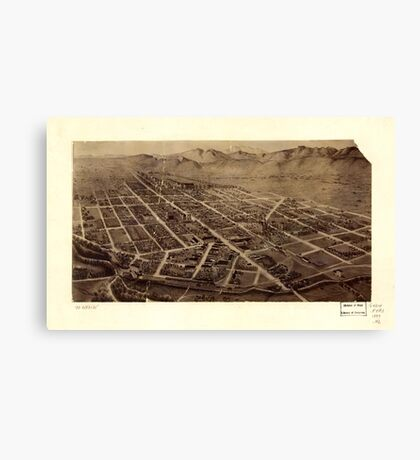 Panoramic Maps Fort Collins Colorado 2 Canvas Print