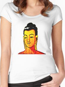 Khmer Temple Painting Women's Fitted Scoop T-Shirt