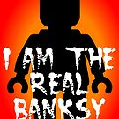 Black Minifig with &quot;I am the Real Banksy&quot; slogan by Customize My Minifig by ChilleeW