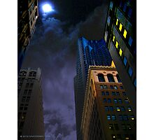 Downtown Cloudy Night Photographic Print