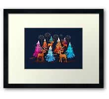 Happy Christmas Trees Framed Print