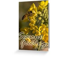 Seasons Greetings from the garden, Honey Bee and Broccoli Flowers Greeting Card