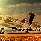 Avro Vulcan Strategic Bomber Takes Off into the Sun by Dennis Melling