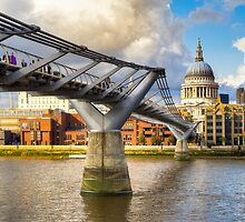 Old And New -  Millennium Bridge & St Paul's by Mark Tisdale
