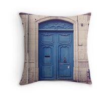 Blue door in Dijon Throw Pillow
