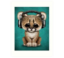 Cute Cougar Cub Dj Wearing Headphones on Blue Art Print